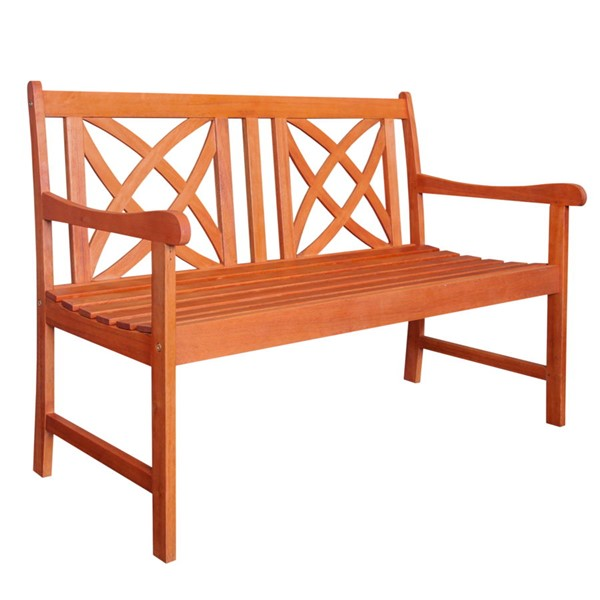 VIFAH Malibu Natural Wood Outdoor Patio 4 Foot Garden Bench VFH-V1493