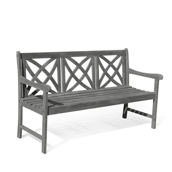 VIFAH Renaissance Hand Scraped Wood Contoured Seat Outdoor 5 Foot Garden Bench VFH-V1611