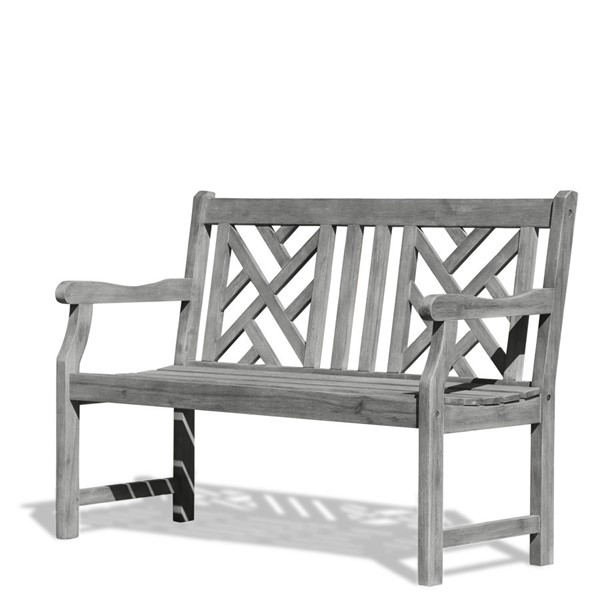 VIFAH Renaissance Hand Scraped Wood Decorative Back Outdoor 4 Foot Garden Bench VFH-V1624