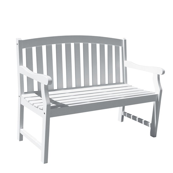 VIFAH Bradley White Wood Contoured Seat Outdoor Patio 4 Foot Garden Bench VFH-V1629