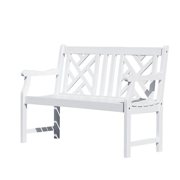 VIFAH Bradley White Wood Curved Armrests Outdoor Patio 4 Foot Garden Bench VFH-V1631