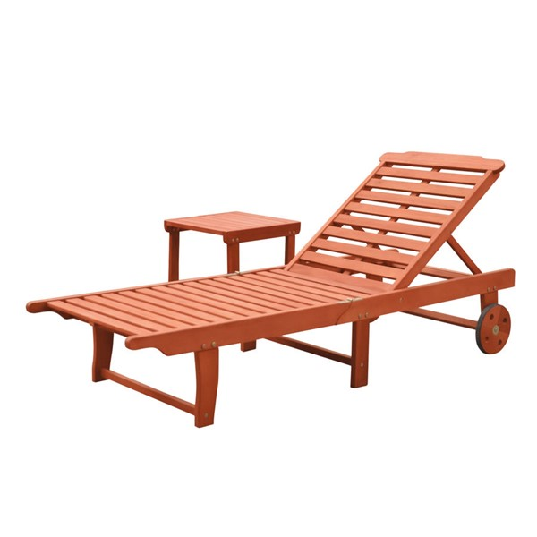 VIFAH Malibu Natural Wood Outdoor Patio 2pc Beach and Pool Lounge Set VFH-V1802SET1