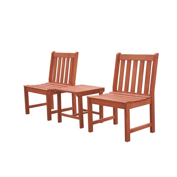 VIFAH Malibu Natural Wood Outdoor Patio 3pc Dining Set VFH-V1802SET11