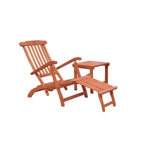 VIFAH Malibu Natural Wood Slatted Back Outdoor Patio 2pc Chaise Lounge Set VFH-V1802SET3