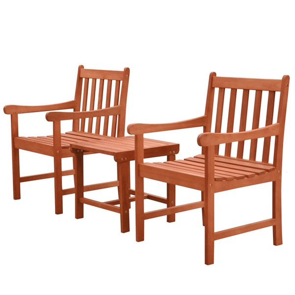 VIFAH Malibu Natural Wood Slatted Back Chairs Outdoor 3pc Dining Set VFH-V1802SET7