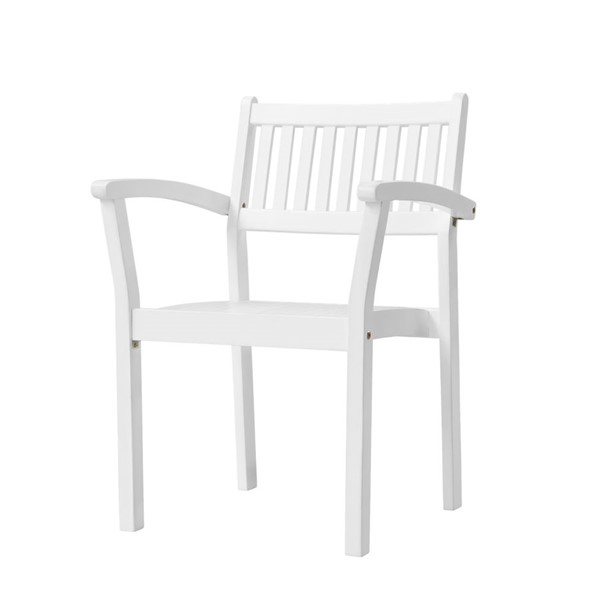 2 VIFAH Bradley Wood Outdoor Patio Garden Stacking Armchairs VFH-V1806
