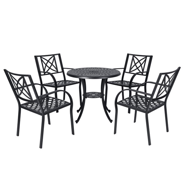 VIFAH Paracelsus Black Aluminum Outdoor Patio 5pc Dining Set VFH-V1809SET2