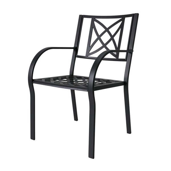 2 VIFAH Paracelsus Black Aluminum Outdoor Patio Chairs VFH-V1810