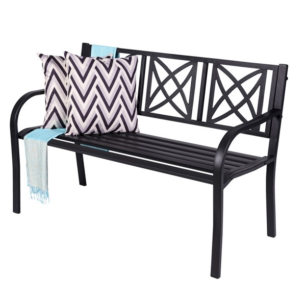 VIFAH Paracelsus Black Metal 4 Foot Garden Bench VFH-V1811