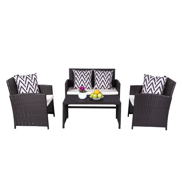 VIFAH Cyrus Dark Brown Wicker Cushioned Compact 4pc Patio Garden Dining and Coffee Set VFH-V1814