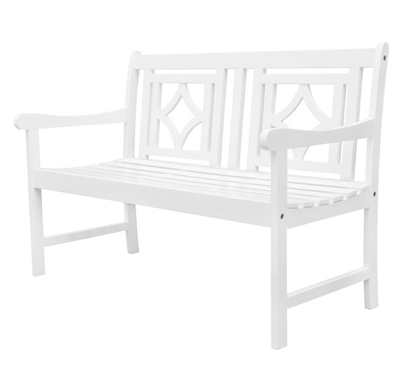 VIFAH Bradley White Outdoor Patio Diamond 4 Foot Bench VFH-V1830