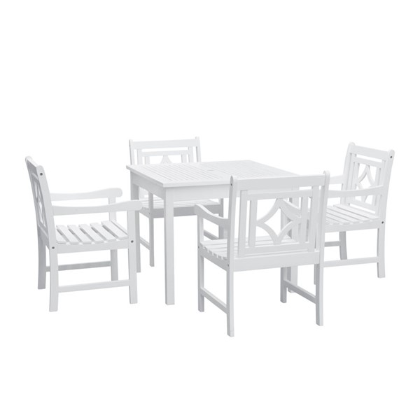 VIFAH Bradley White Wood Stacking Table Outdoor Patio 5pc Dining Set VFH-V1841SET7