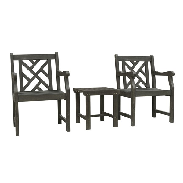VIFAH Renaissance Hand Scraped Hardwood Outdoor Patio 3pc Conversation Set VFH-V1843SET2