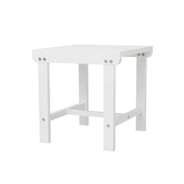 VIFAH Bradley White Wood Outdoor Patio Side Table VFH-V1844