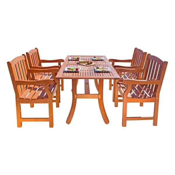 VIFAH Malibu Natural Wood Slatted Seat 5pc Outdoor Dining Set VFH-V187SET25