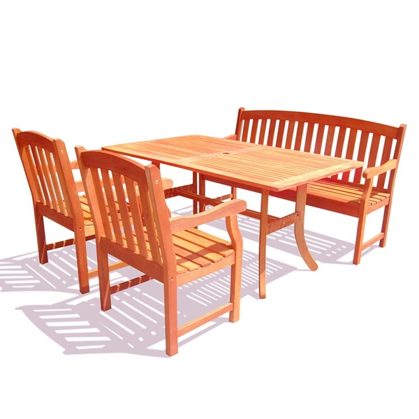 VIFAH Malibu Natural Wood 5 Foot Bench Outdoor Patio 4pc Dining Set VFH-V187SET26