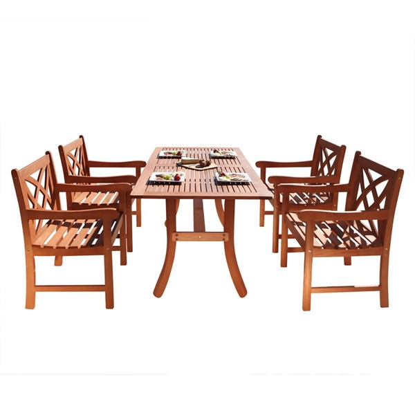 VIFAH Malibu Natural Wood Curvy Leg Table Outdoor Patio 5pc Dining Set VFH-V189SET1