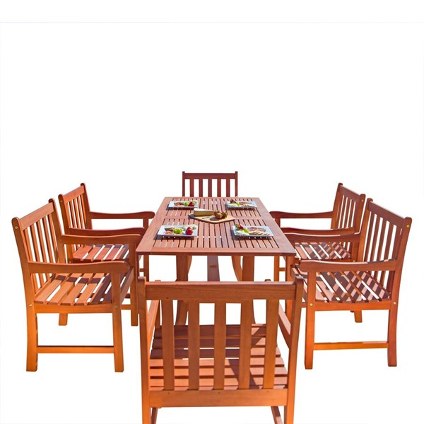 VIFAH Malibu Natural Wood Slatted Back Chairs 7pc Outdoor Patio Dining Set VFH-V189SET10