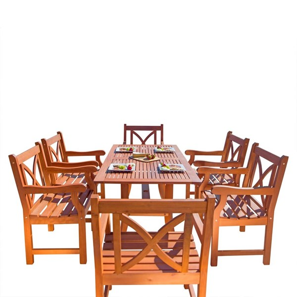 VIFAH Malibu Natural Wood Curvy Leg Table 7pc Outdoor Patio Dining Set VFH-V189SET11