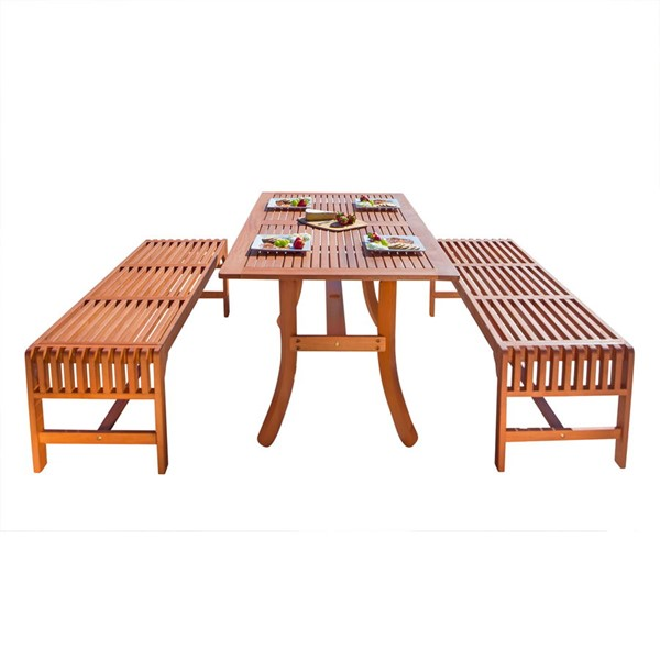 VIFAH Malibu Natural Wood Curvy Leg Table Outdoor Patio 3pc Dining Set VFH-V189SET13