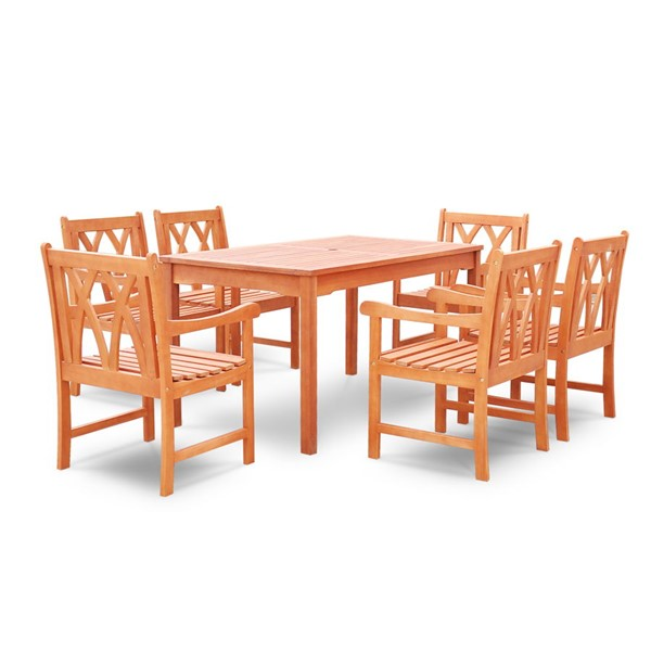 VIFAH Malibu Natural Wood Decorative Back Chairs 7pc Outdoor Dining Set VFH-V189SET19
