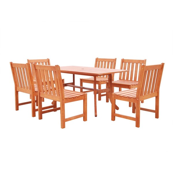 VIFAH Malibu Natural Wood Slatted Seat Chairs Outdoor Patio 7pc Dining Set VFH-V189SET21