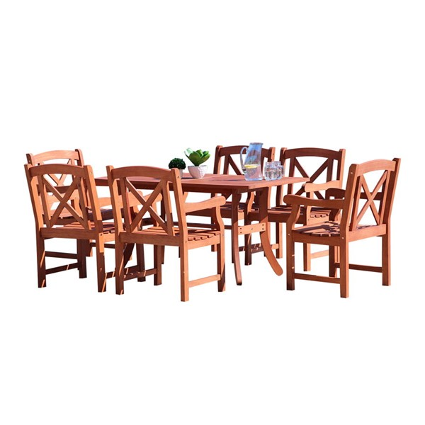 VIFAH Malibu Natural Wood Cross Back Chairs 7pc Outdoor Patio Dining Set VFH-V189SET23