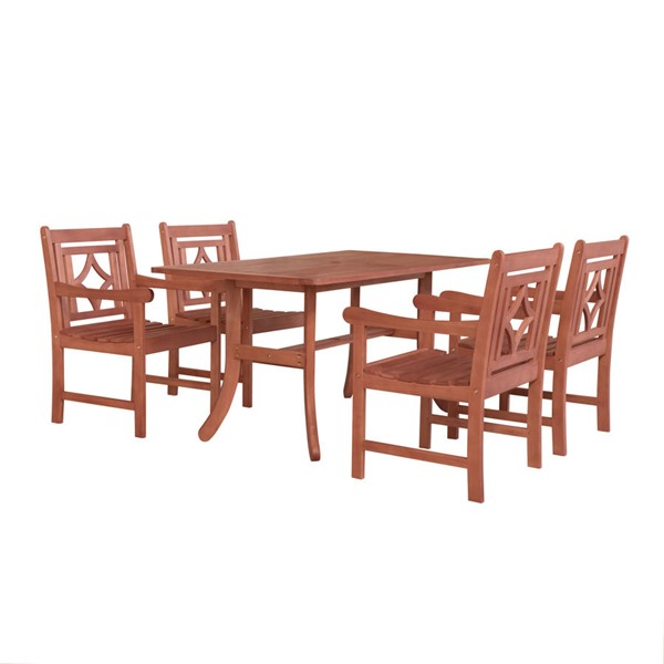 VIFAH Malibu Natural Wood Decorative Back Chairs 5pc Outdoor Dining Set VFH-V189SET38