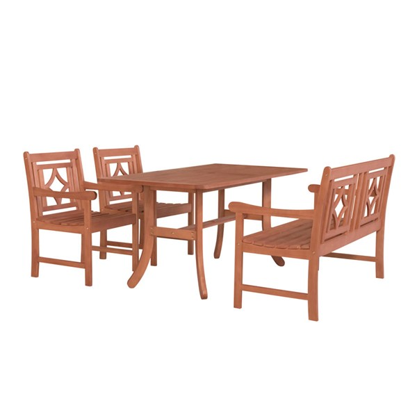 VIFAH Malibu Natural Wood 4pc Outdoor Patio Dining Set VFH-V189SET40