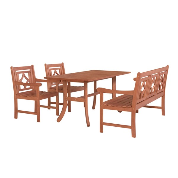 VIFAH Malibu Natural Wood Decorative Back Chairs 4pc Outdoor Patio Dining Set VFH-V189SET42