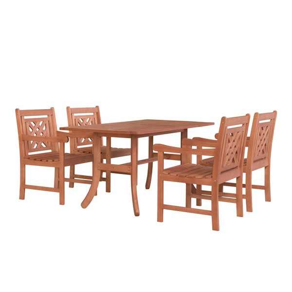 VIFAH Malibu Natural Wood Curvy Legs Table Outdoor Patio 5pc Dining Set VFH-V189SET45