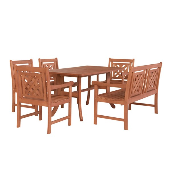 VIFAH Malibu Natural Wood Curvy Legs Table Outdoor Patio 6pc Dining Set VFH-V189SET48
