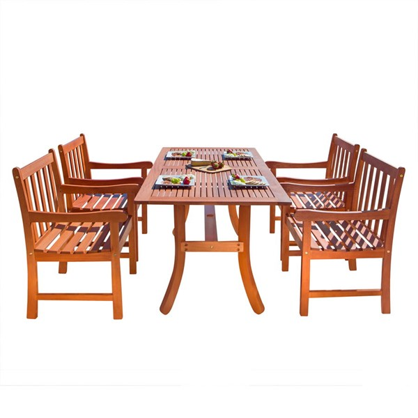 VIFAH Malibu Natural Wood Slat Back Chairs Outdoor Patio 5pc Dining Set VFH-V189SET5