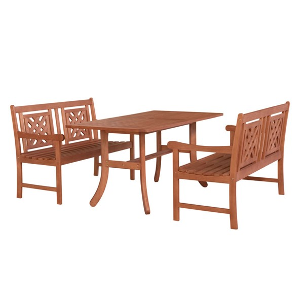 VIFAH Malibu Natural Wood Decorative Back Chairs Outdoor Patio 3pc Dining Set VFH-V189SET50