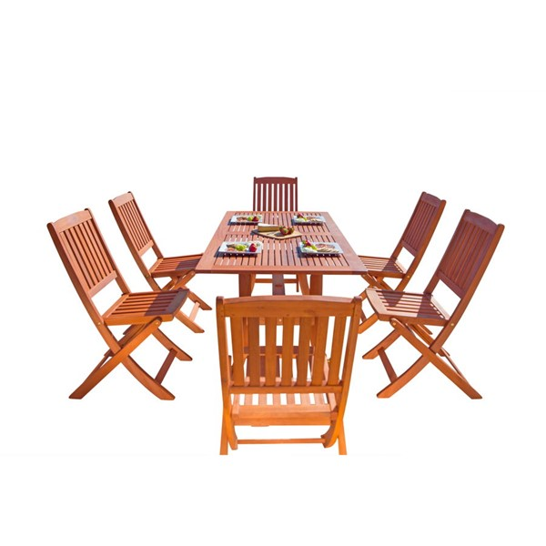 VIFAH Malibu Natural Wood Folding Chairs 7pc Outdoor Patio Dining Set VFH-V189SET7