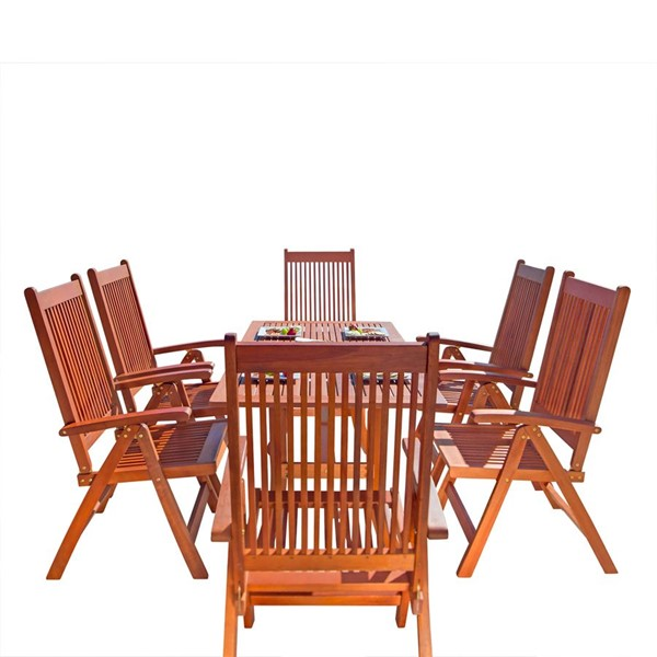 VIFAH Malibu Natural Wood Slatted Back Chairs Outdoor Patio 7pc Dining Set VFH-V189SET8