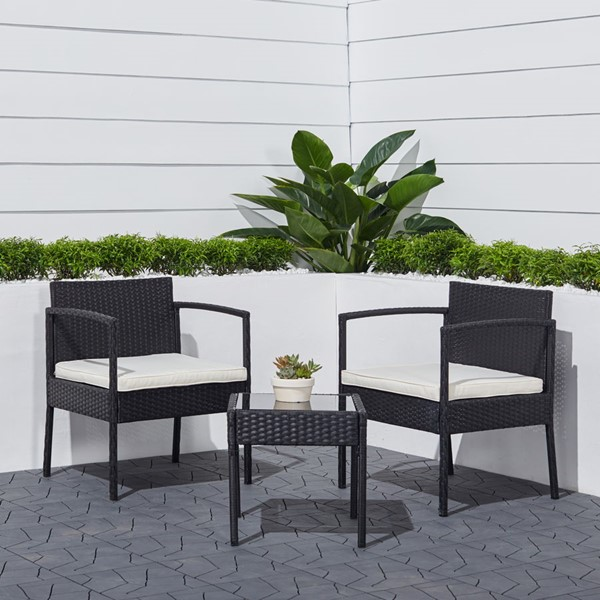 VIFAH Tierra Classic Black Wicker 3pc Outdoor Coffee Lounger Set VFH-V1913
