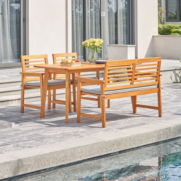 VIFAH Waimea Honey Patio 4pc Dining Set VFH-V1954SET3