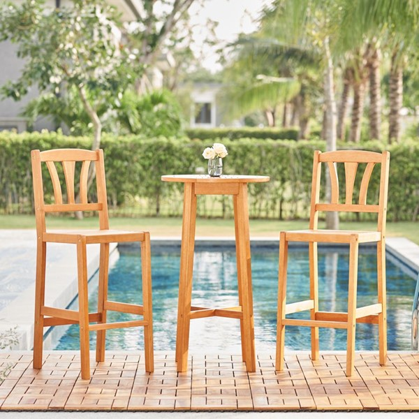 VIFAH Kapalua Honey Outdoor 3pc Bar Set VFH-V1969SET1
