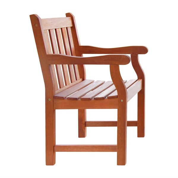 VIFAH Malibu Natural Wood Outdoor Garden Slatted Back Armchair VFH-V209