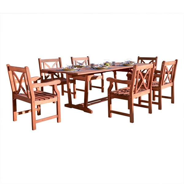 VIFAH Malibu Natural Wood Cross Back 7pc Outdoor Patio Dining Set VFH-V232SET16