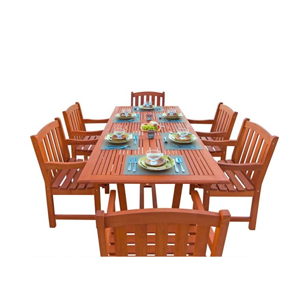 VIFAH Malibu Natural Wood Rectangle Table 7pc Outdoor Patio Dining Set VFH-V232SET2