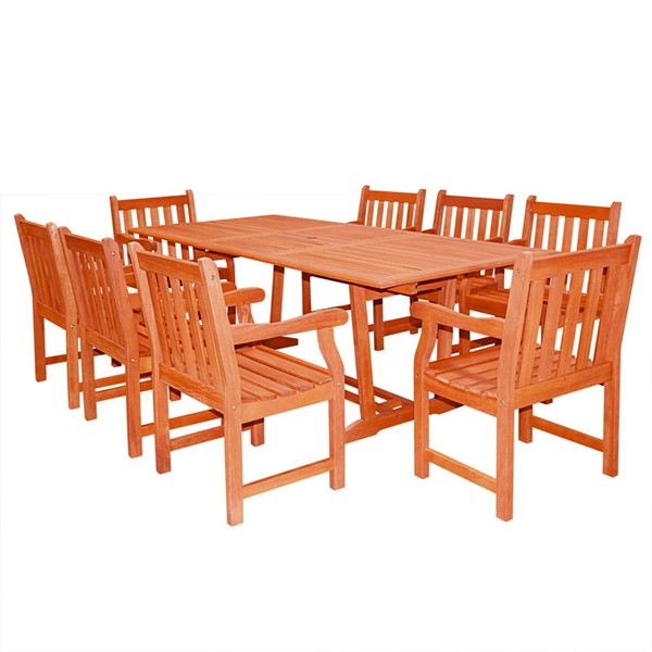 VIFAH Malibu Natural Wood Slatted Back 9pc Outdoor Patio Dining Set VFH-V232SET20