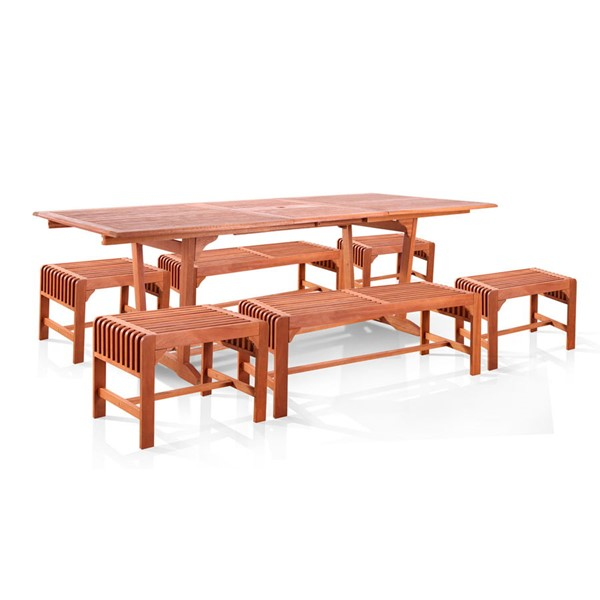 VIFAH Malibu Natural Wood Backless Outdoor 7pc Dining Set VFH-V232SET31