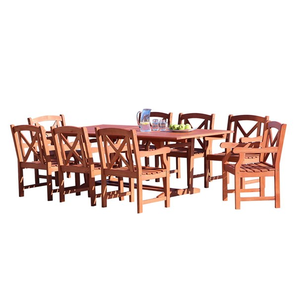 VIFAH Malibu Natural Wood Cross Back 9pc Outdoor Dining Set VFH-V232SET35