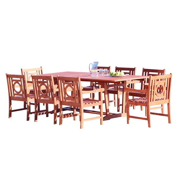 VIFAH Malibu Natural Wood Slatted Seat 9pc Outdoor Dining Set VFH-V232SET38