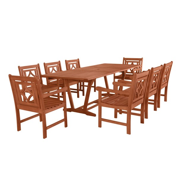 VIFAH Malibu Natural Wood Diamond Back Outdoor Patio 9pc Dining Set VFH-V232SET42