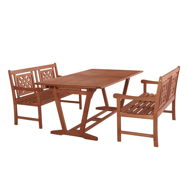 VIFAH Malibu Natural Wood Decorative Back 3pc Outdoor Dining Set VFH-V232SET47