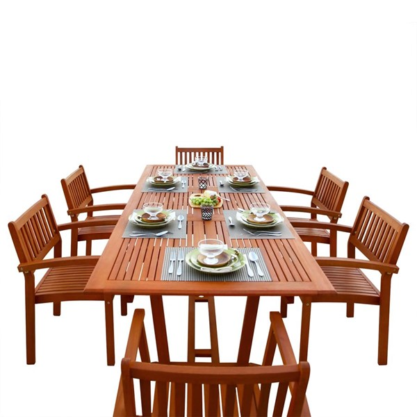 VIFAH Malibu Natural Wood Slatted Back 7pc Outdoor Dining Set VFH-V232SET5