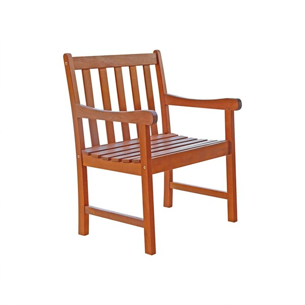 VIFAH Malibu Natural Wood Slatted Seat Outdoor Garden Armchair VFH-V415